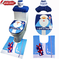 Santa Claus Cold Old Man New Year Decoration Blue Toilet Seat Cover And Rug Set For