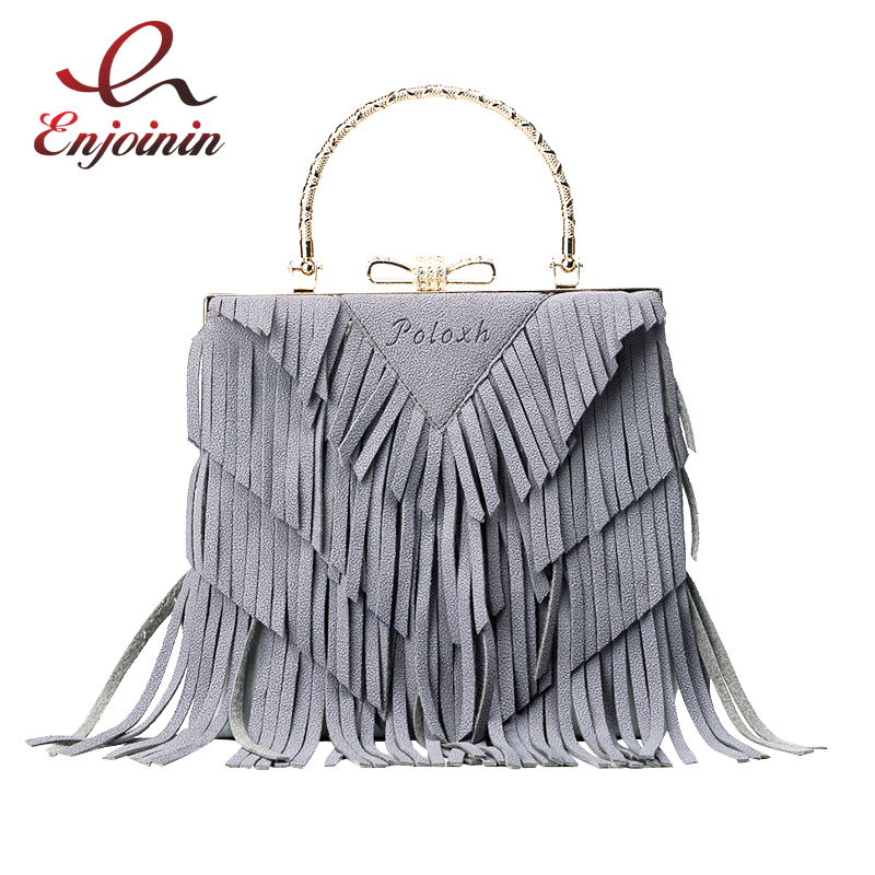 Fashion splicing color suede pu leather tassel box shape ladies handbag shoulder bag totes crossbody messenger bag purse flap fashion new design pu leather lotus wave female chain purse shoulder bag handbag ladies crossbody messenger bag women s flap