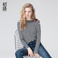Toyouth вязаный свитер осень 2017 г. женские повседневная одежда в полоску с длинными рукавами и круглым вырезом Тощий пуловер Свитера