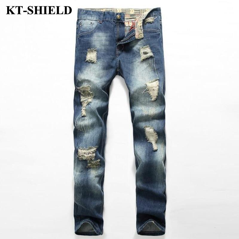 New Arrival Slim fit Jeans Men Ripped Fashion Mannen Vaqueros Blue Casual Pants Pantalones Cotton Biker