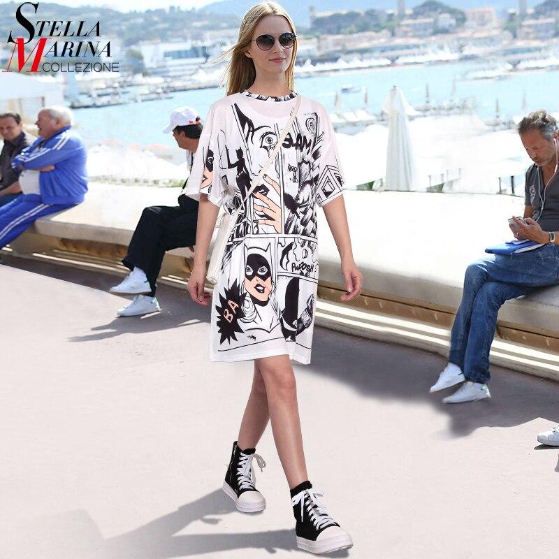 2019 Korean Style Summer Women White Casual Beach Dress Plus Size Cartoon Print Lady Cute Midi Loose Short Dress Robe Femme 2404
