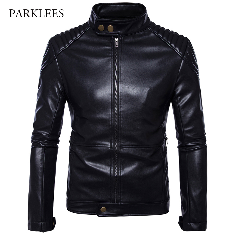 Motorcycle Leather Jacket Men 2017 Autumn Winter Stand Collar Mens Pu Leather Jacket Casual Windproof Zipper Veste Cuir Homme stand collar zipper plain mens thicken pu jacket