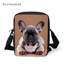 ELVISWORDS Fashion Women Messenger Bags Little Bulldogs Pattern Shoulder Cute Animal Girls Flaps Handbags Kids Mini Mochila