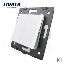 Livolo стандарт ЕС 2 банды сброса функция ключ для стены кнопочный переключатель, 4 цвета, пластиковые материалы, C7-K2H-11/12/13/15