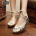 Мода Китайский стиль женщины туфли на платформе изысканный Ретро вышивка случайный насосы женская обувь красный высокие каблуки sapato feminino