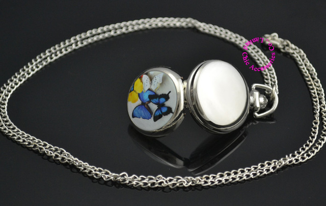 lady girl women silver mirror cute colorful butterfly pocket watch necklace hour wholesale buyer low price good antibrittle