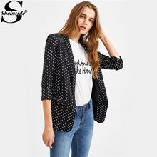 Sheinside Black Polka Dot Open Front Blazer For Ladies 2017 Autumn 3/4 Sleeve Fitted Work Wear Blazer Women's Cute Blazer