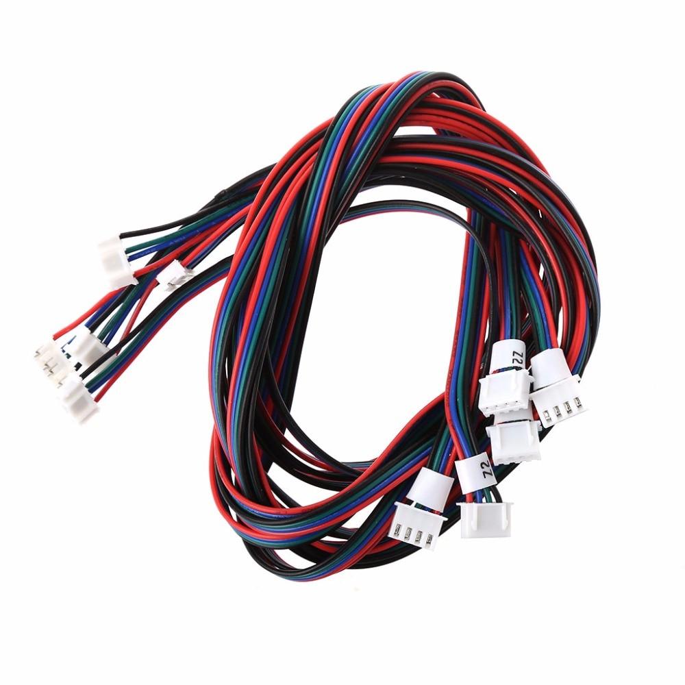3d Printer Part 5Pcs 3D Printer 4-Pin Female-Female XH2.54 Connector Nema 17 Stepper Double White Motor Cable