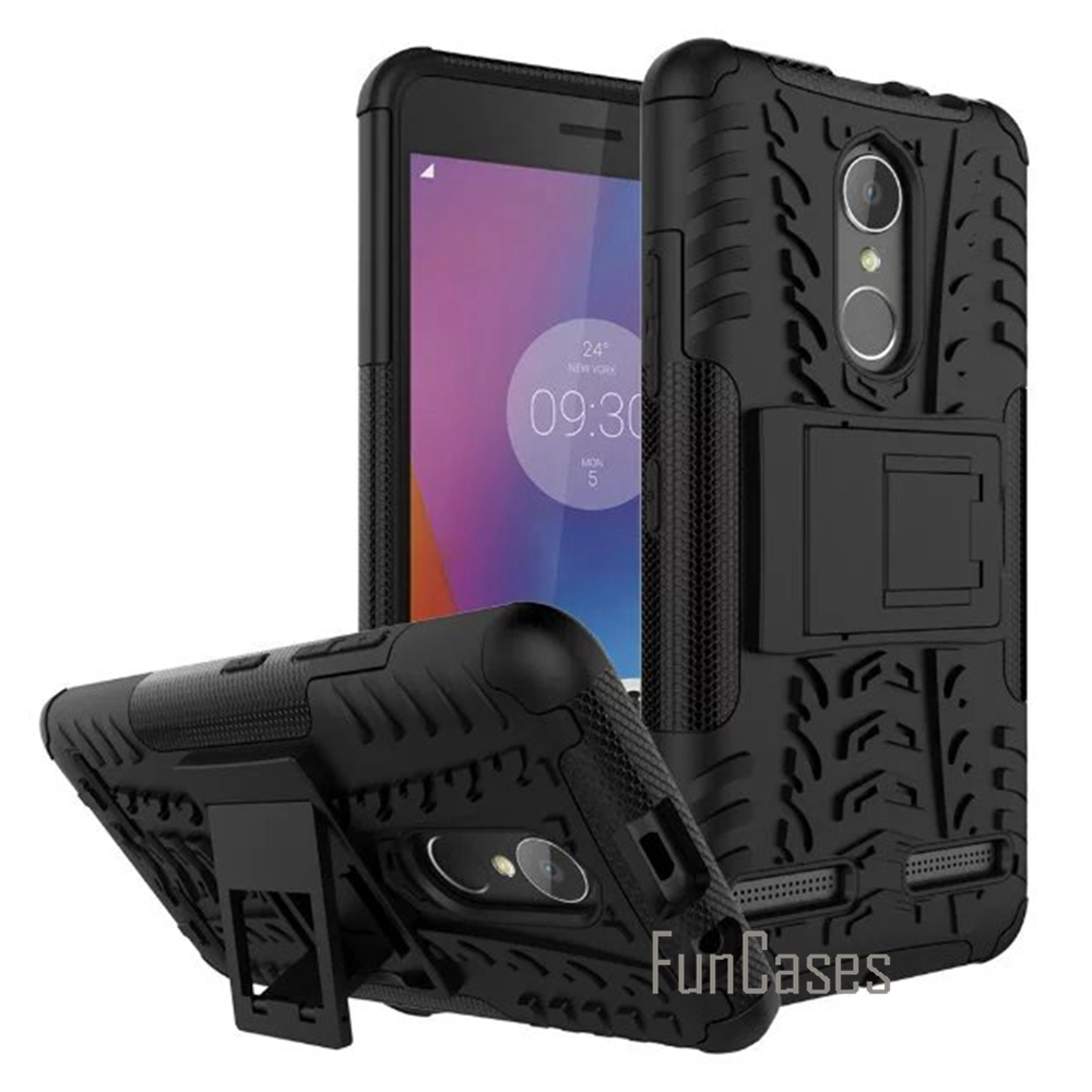 For Lenovo K6 Case Plastic Silicon Anti Knock Back Armor Cover Phone Bags Cases for Lenovo K6 5.0 Inch Holder With Kickstand cas