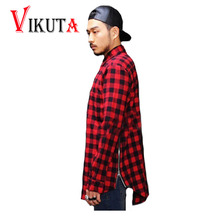 Hip hop tyga mens red Tartan plaid shirts Long sleeve side gold zipper man extended casual bule Lattice shirt VC2926