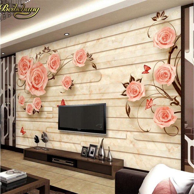 beibehang marble rose european painting papel de parede 3d photo mural wallpaper cafe restaurant interior decor - Marble Restaurant Decor
