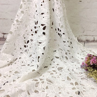 High Quality Leaf Pattern Design Water Soluble Lace Fabric For Wedding Dress DIY Milk Silk Lace