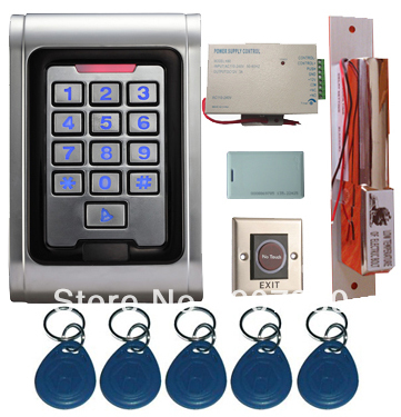 Proximity Card Waterproof Standalone Access Control Kits/5pcs keyfobs+5pcs cards, Waterproof Metal Keypad,Electric Dropbolt Lock