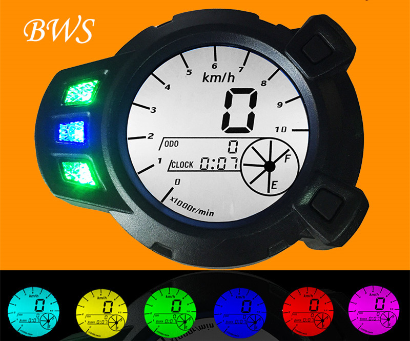 12v/48v LCD Speedometer Odometer Scooter Motorcycle Yamaha Zuma BWS x 125 BMK YW125 ---10000PRM--- 7 Colour Backlight - DreamTrading store