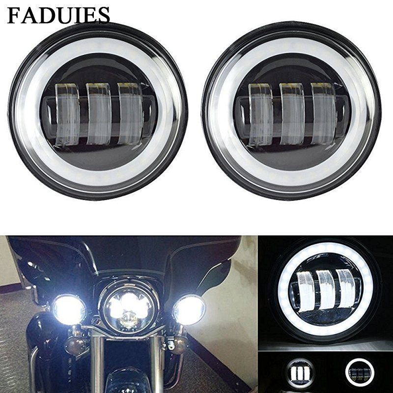 FADUIES 2pcs 4.5 Inch Motorcycle Led Fog Light DRL Led Fog Angel Eyes 30W Round 4 1/2 Auxiliary Passing Lamp For Harley