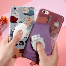 Squishy Mobile Phone Cases 3D Cute Phone Cover for iPhone 6s 6 6 Plus 7 7 Plus Case Marshmallow Soft Silicone Gel Shell Cat Seal
