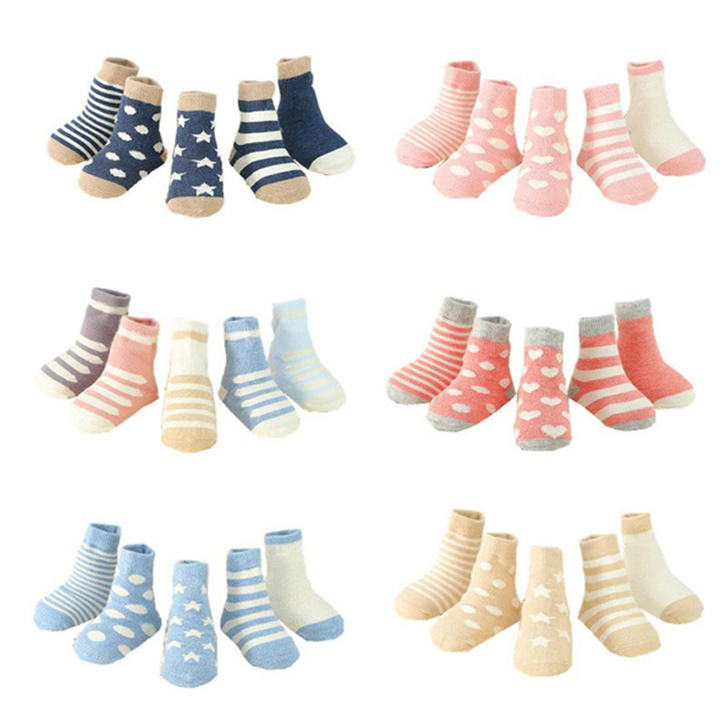 New 5Pairs/Pack Children Warm Socks Boy,Girl,Baby,Infant Keep Warm Stripe Dots Fashion Sport's Socks Autumn/Winter Kids Gifts