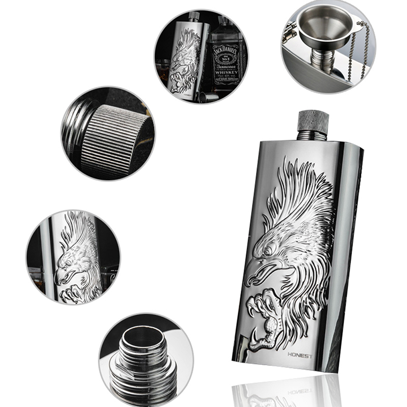 304 Stainless Steel Hip Flask Whisky Bottle Outdoor Portable 17 Oz Pure Handmade Wine Boutique With Funnel