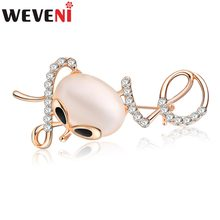 WEVENI Strass Opal Cat Gattino Spilla Per Le Donne Spille Pin Souvenir Collare Vestito Decorazione Sciarpa di Nuovo Modo Monili Animali(China)