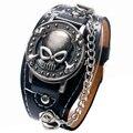 Moda Fresco Do Projeto Do Crânio Do Punk Pulseira Esqueleto Pulseira De Couro Relógio para Mulheres dos homens relógios de Pulso Montres Relojes