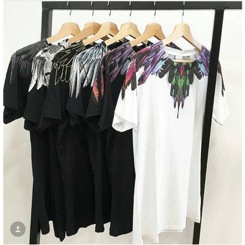 Marcelo Burlon T-Shirt 18SS Uomini Donne 1:1 Italia Moda Marcelo Burlon Ali di Piume Top Tees Streetwear Marcelo Burlon T Shirt