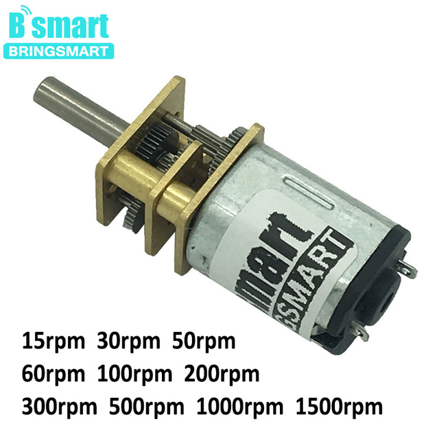 Bringsmart N20 3V 6 Volt DC Gear Motor 12V 15-1500RPM Reversed Control Low Noise for DIY Electronic Equipment Toys Mini Machine