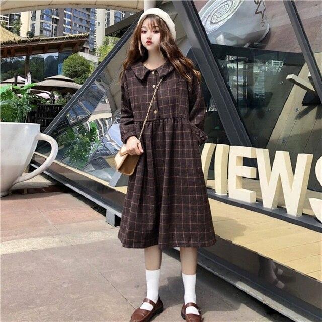 Japanese Preppy Style Women Winter Dress Peter Pan Collar Brown Plaid  Vintage Lolita Dress Elegant Wool Kawaii Korea Girl Dress