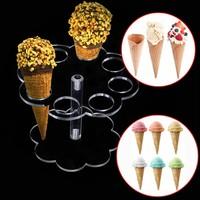 Ice Cream Holder Cake Candy Acrylic Wedding Party Buffet Display For 8 Cone Stand Tray Creative