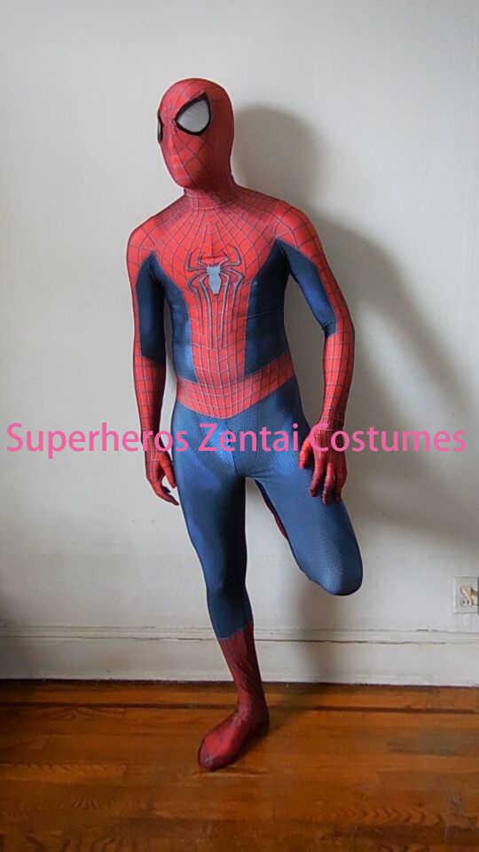 Les étonnants costumes Spiderman TASM2 Zentai Spider-man Cosplay Costume 3D imprimé Lycra complet Body Spidey Costume Halloween