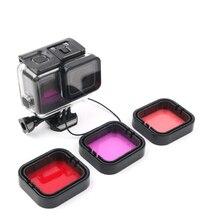 3-Pack подводный фильтр для дайвинга красные пурпурные фильтры для подводного плавания для GoPro HERO 5 6 7 черный костюм корпус светофильтр для линз
