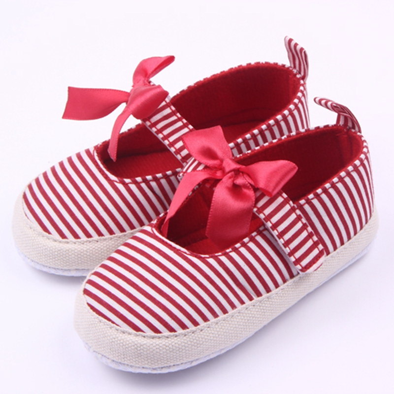 Beautiful Butterfly-knot And Striped Anti-Slip Baby Dress Shoes For Girls Infant Girl Shoes 0-15 Months