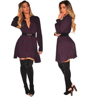 2018 Spring Women Dress Plaid Blusas Casual Shirt Dresses Plus Size Clothing
