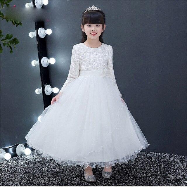 e489d0a363 Romantic Trendy Long Sleeves Autumn Winter Elegant Flower Girls Dress Kids  Teenagers Piano Princess Christmas Wedding Dress