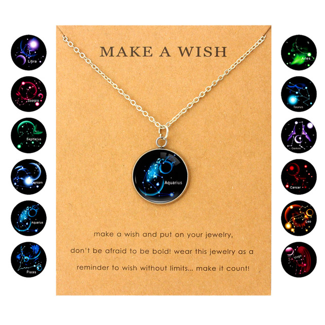 US $1 12 20% OFF|Aries Taurus Gemini Cancer Leo Virgo Libra Scorpio  Sagittarius Capricorn Aquarius Pisces Constellations Zodiac Women Necklaces  -in