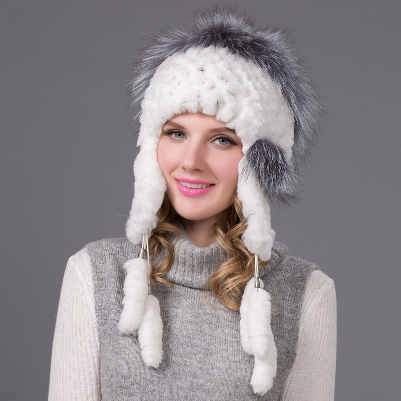 Winter Knitted  Fur Beanies For Women Hats fox+rabbit Fur  Hats Girls Bobble Caps Femme
