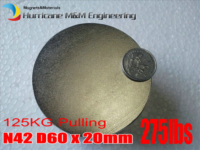 NdFeB Disc Magnet 60 mmx20 mm thick 125KG pulling force Neodymium Permanent Magnets Grade N42 NiCuNi Plated Axially Magnetized 1 pack dia 6x3 mm jelwery magnet ndfeb disc magnet neodymium permanent magnets grade n35 nicuni plated axially magnetized