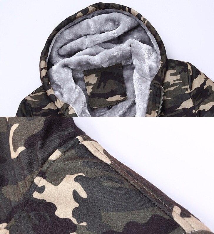 Image 4 - 2019 Winter Men Hooded Jackets Casual Sweatshirts Camouflage  Mens Sportswear Hoodies Fleece Camo Warm Thick Moletom  MasculinoHoodies