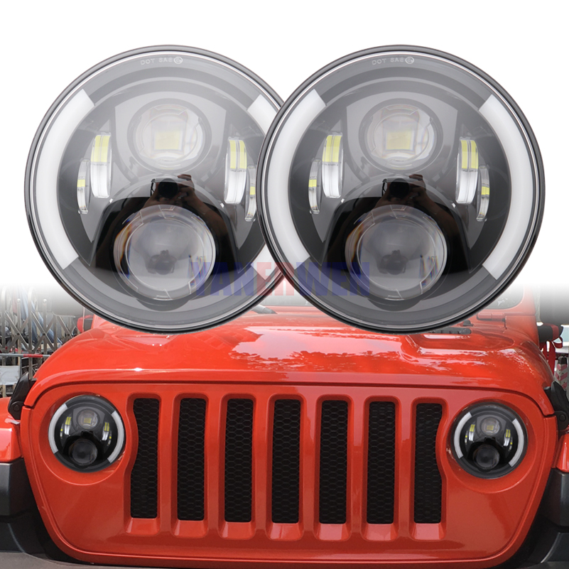 7 Inch LED Headlights H4 H13 Hi-Lo With Halo Angel Eyes For Suzuki Samurai <font><b>SJ410</b></font> For Jeep Wrangler Jk image