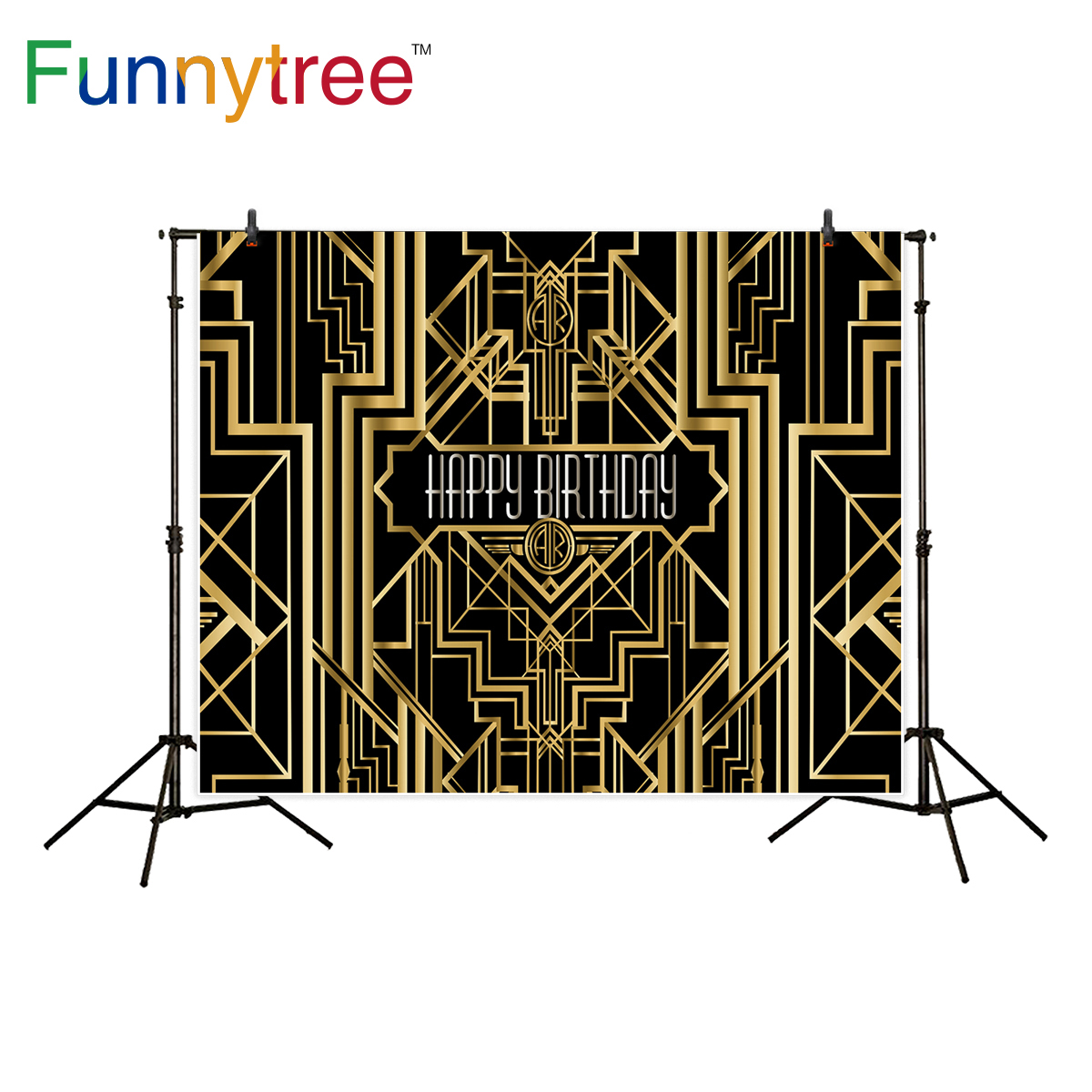 Funnytree photography backdrop Great Gatsby theme birthday party gold and black background photo studio photocall new photo prop photography children s background birthday cake gift present greeting photocall customize cute studio photo prop