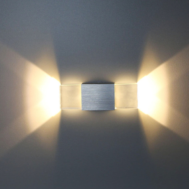 Tanbaby Acrylic Led Wall Lamp 2W Up And Down Wall Sconce Light Indoor  Hallway Walkway Bedroom