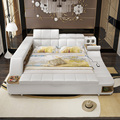 0411TB023 Modern soft bed tatami bedroom King queen double size multi-functional soft Music massage bed real leather art bed