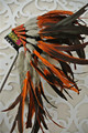 Free Shipping  Orange and Black handmade Indian Headdress war bonnet  feather headdress Original Costume feather