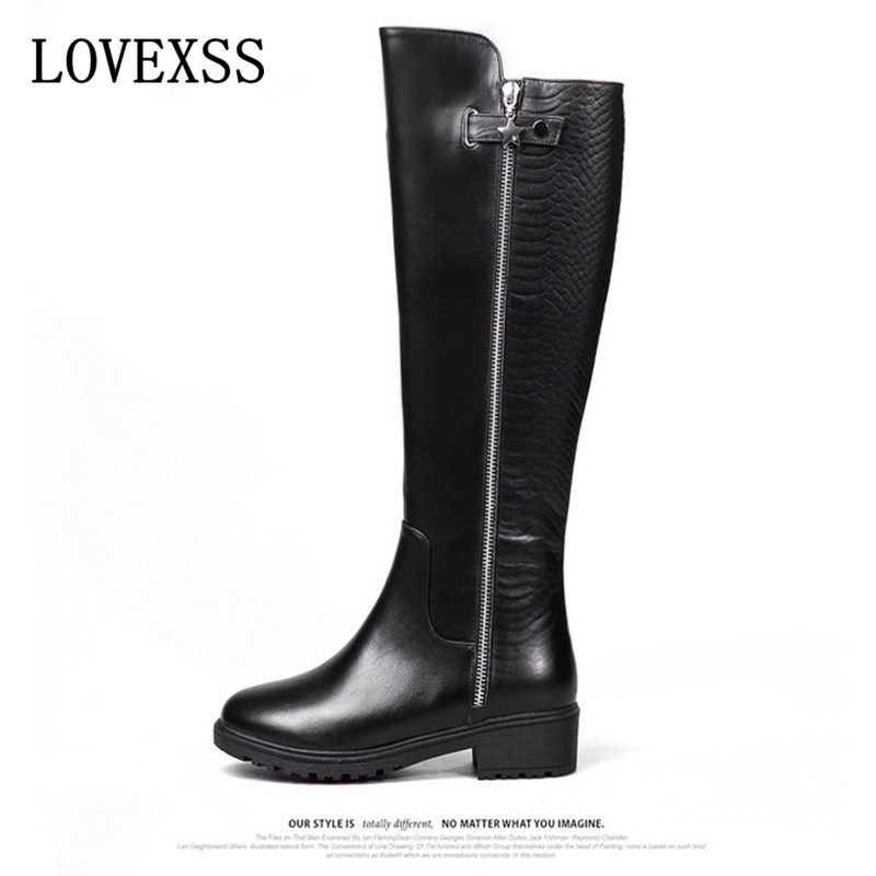 ФОТО LOVEXSS Genuine Leather Knee-High Boots 2017 Autumn Winter Black Brown Woman  High Boots Nubuck Leather Buckle Pointed Toe