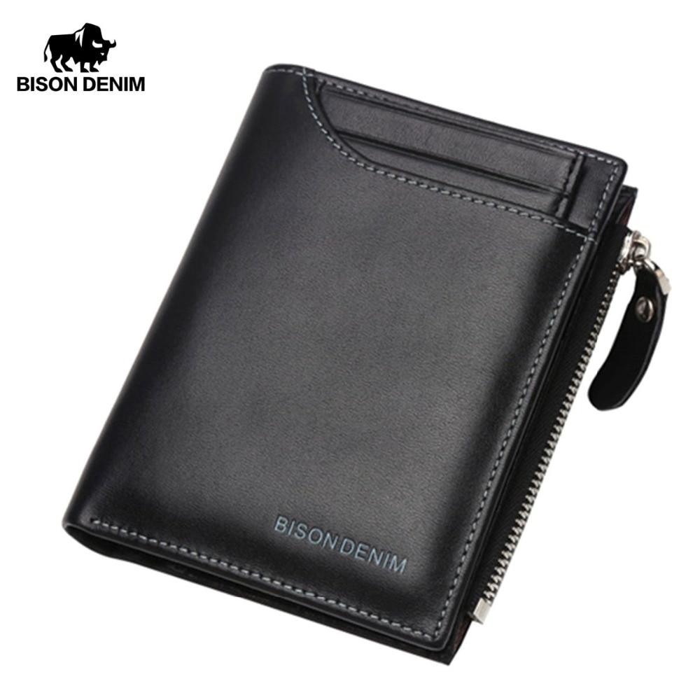 Bisison denim aus echtem leder geldbörse herren geldbörse männlich bifold schlank brieftasche kartenhalter männer brieftasche mit münzfach schwarz brieftaschen n4370
