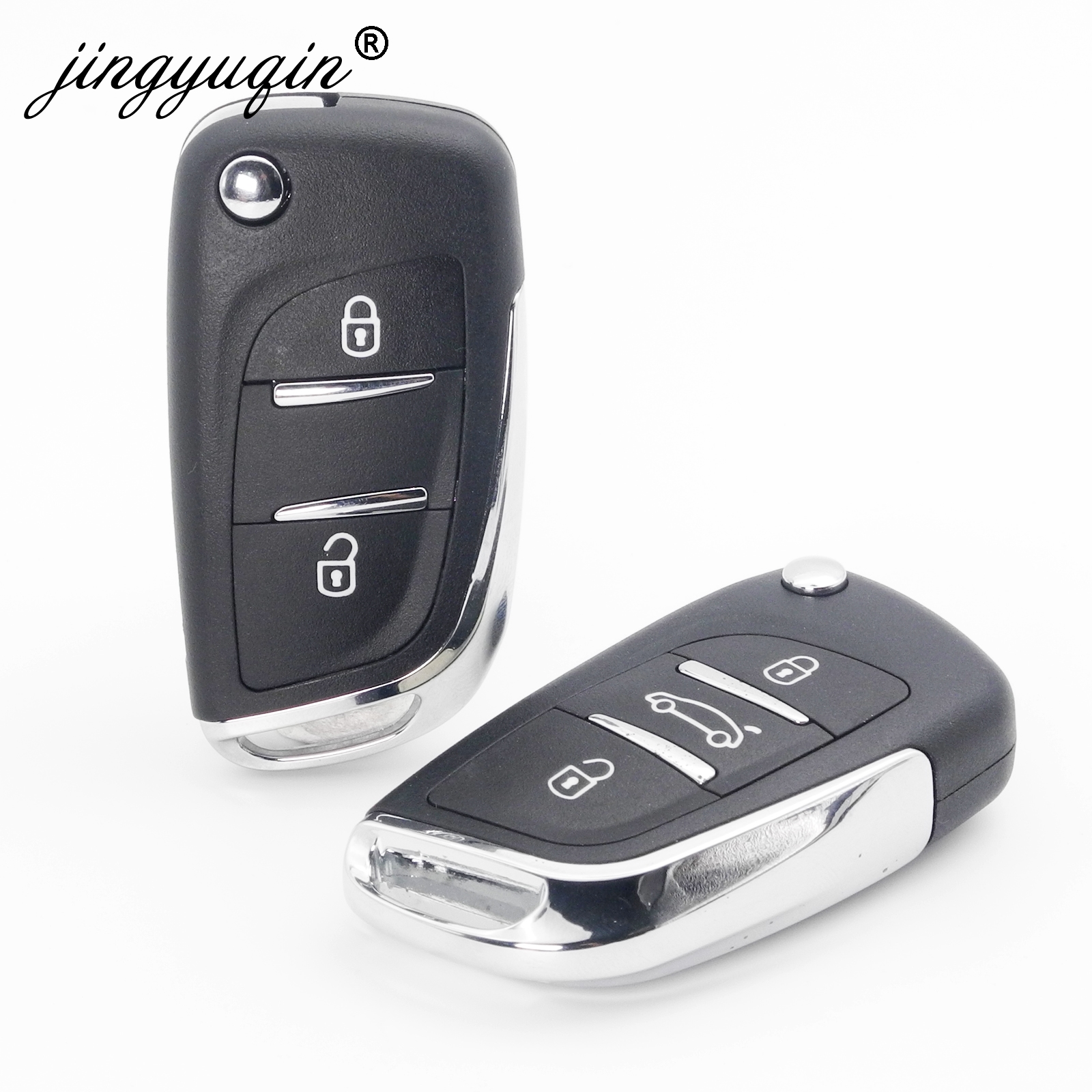 jingyuqin 10pcs lot DKT0269 For Peugeot 306 307 408 308 407 partner Modified Flip Car Key