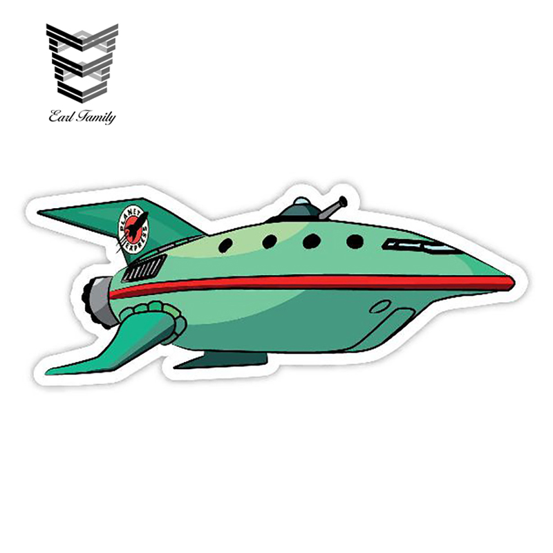 EARLFAMILY 13cm X 5.9cm Funny Planet Express Spaceship Decal Cartoon Car Styling Auto Motorcycle Decoration Graphic Car Sticker