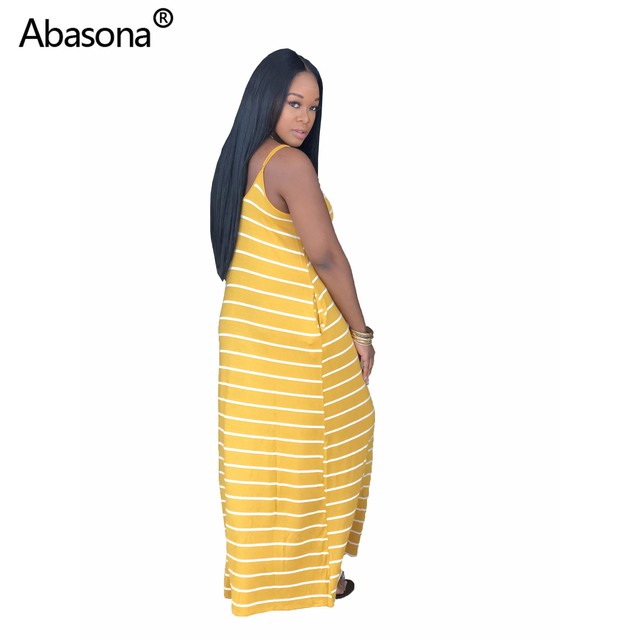 Women Summer Striped Spaghetti Strap Sleeveless Pockets Beach Loose Fashion Long Dress Vintage Casual Maxi Dresses Plus Size