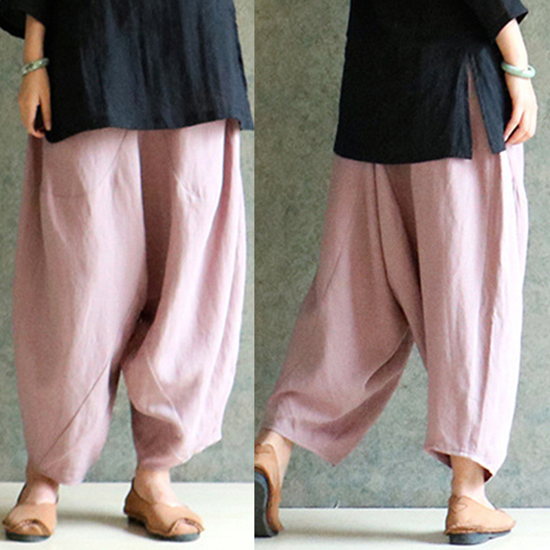 M-5XL Summer Cotton Linen Trousers Women   Wide     Leg     Pants   Elastic Waist Vintage Baggy   Pant   Women Casual Loose Harem   Pants   Pantalon