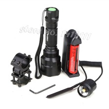 High Quality 2000LM Lantern C8 XML T6 Led Flashlight Linterna Torch Light Hunting Flash Light +18650+Battery Charger+Gun Mount