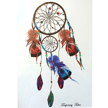 Fashion Waterproof Hot Temporary Tattoo Stickers 21 X 15 CM Dreamcatcher With Blue And Brown Feather